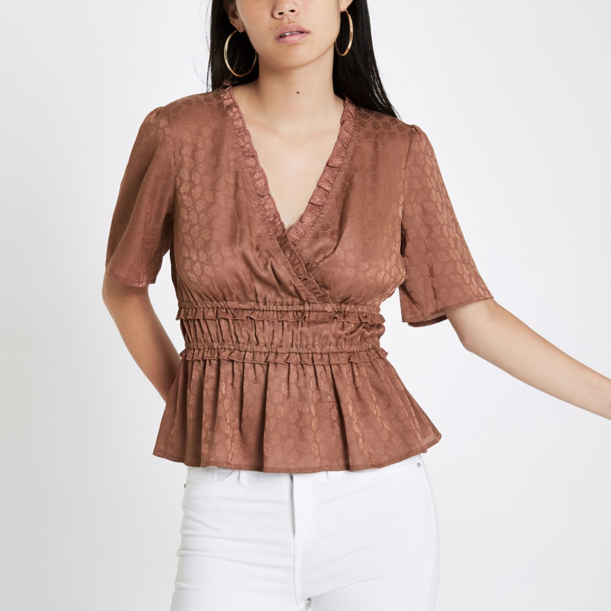Copper leaf print shirred wrap top