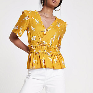 Yellow floral shirred wrap top