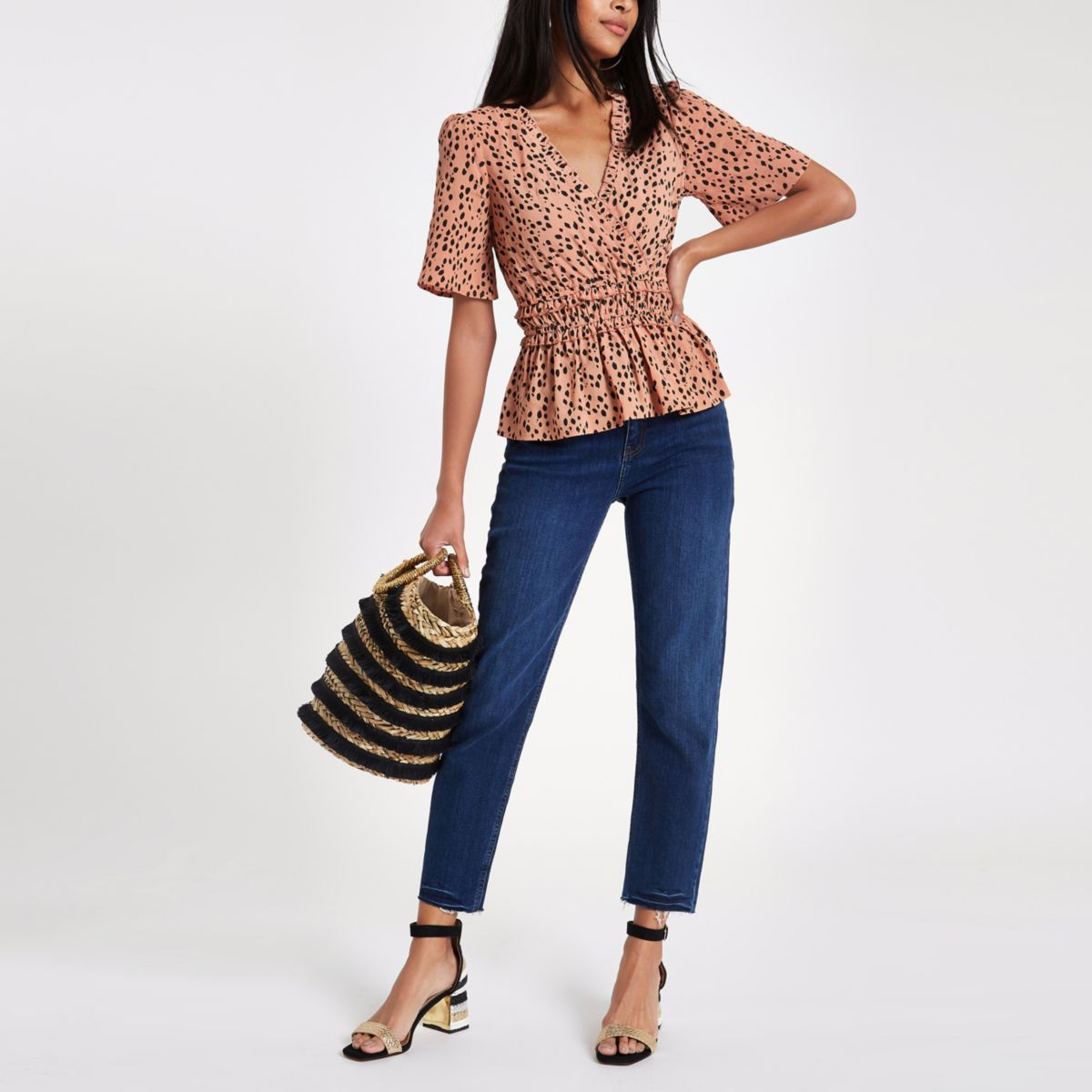 Brown leopard print shirred wrap top