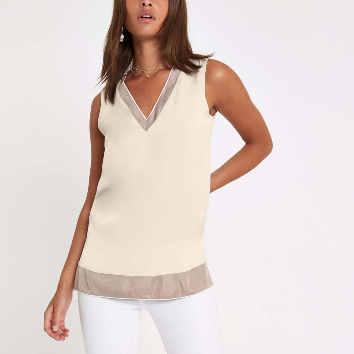 Cream ribbed V neck tunic top