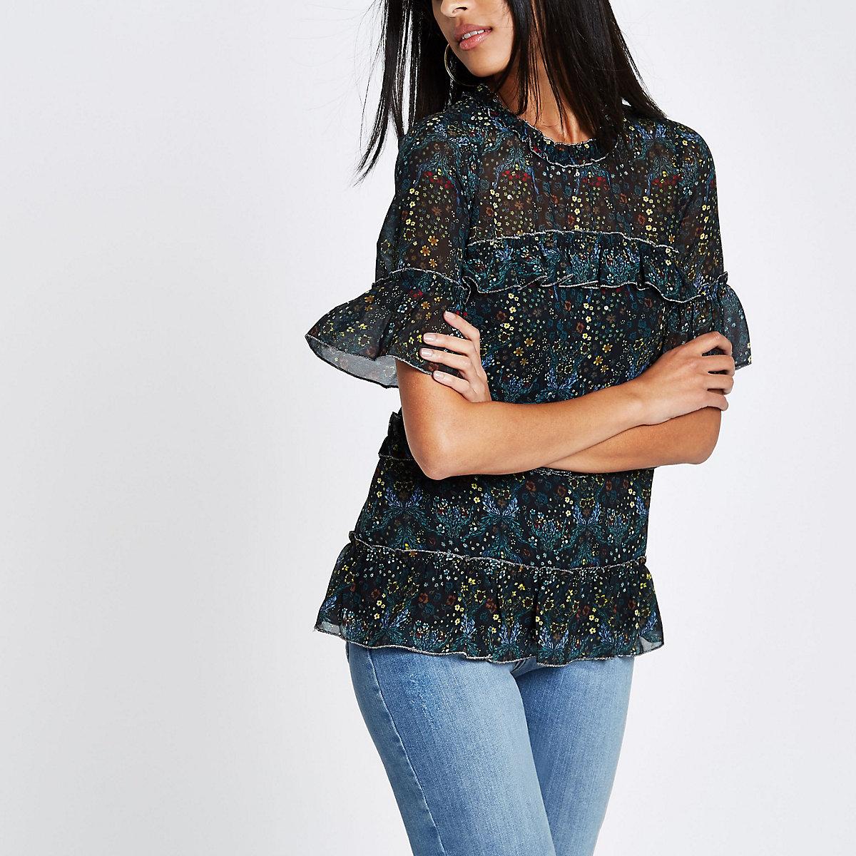 Black floral frill top