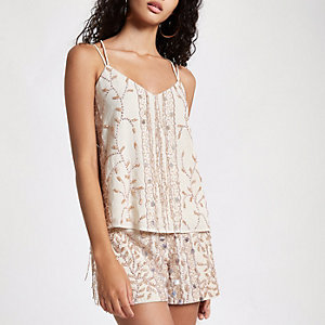 Cream sequin embellished cami top