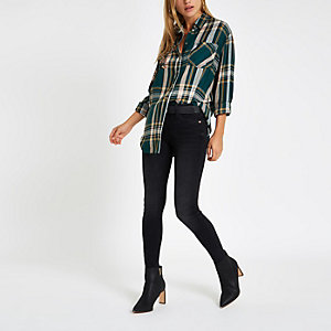 Green check print embellished shirt