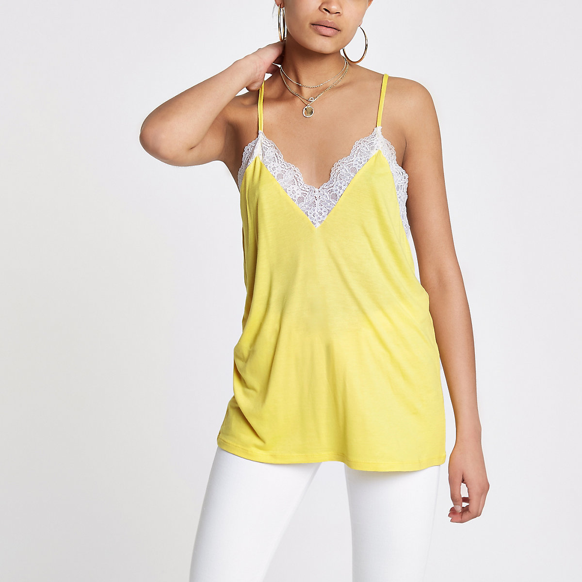 Yellow lace trim racer back cami top