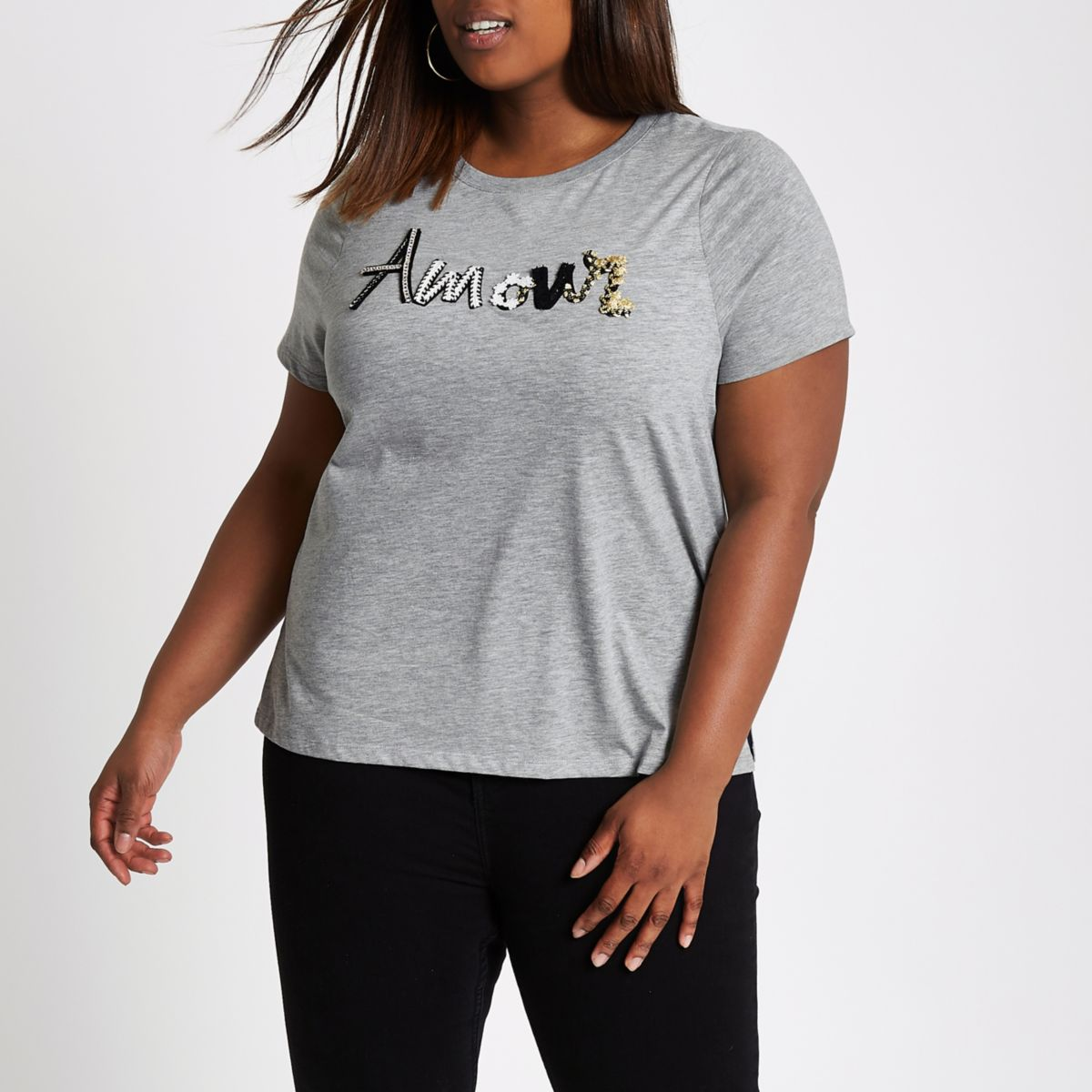 Plus grey 'amour' embroidered T-shirt