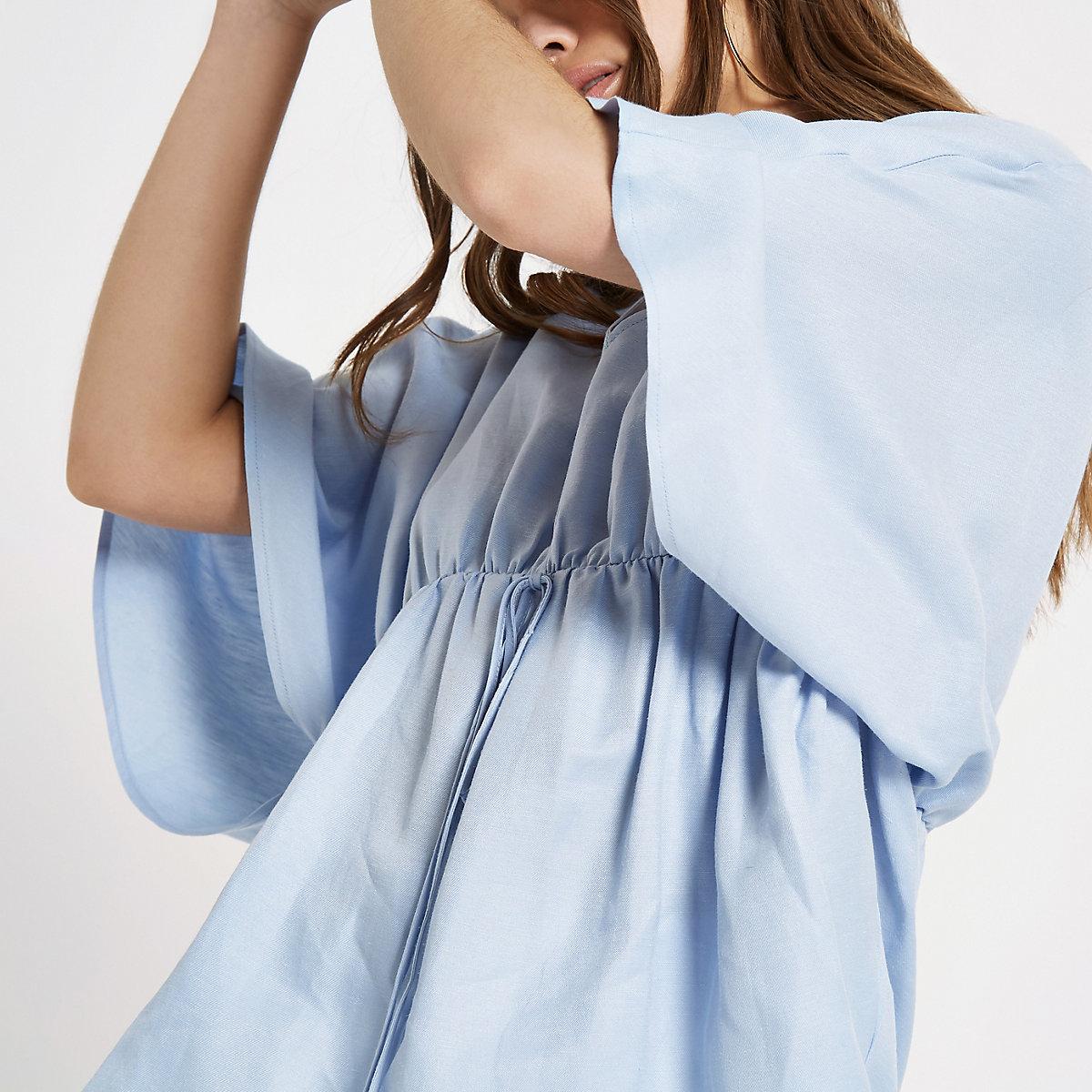 Light blue tie waist kimono top