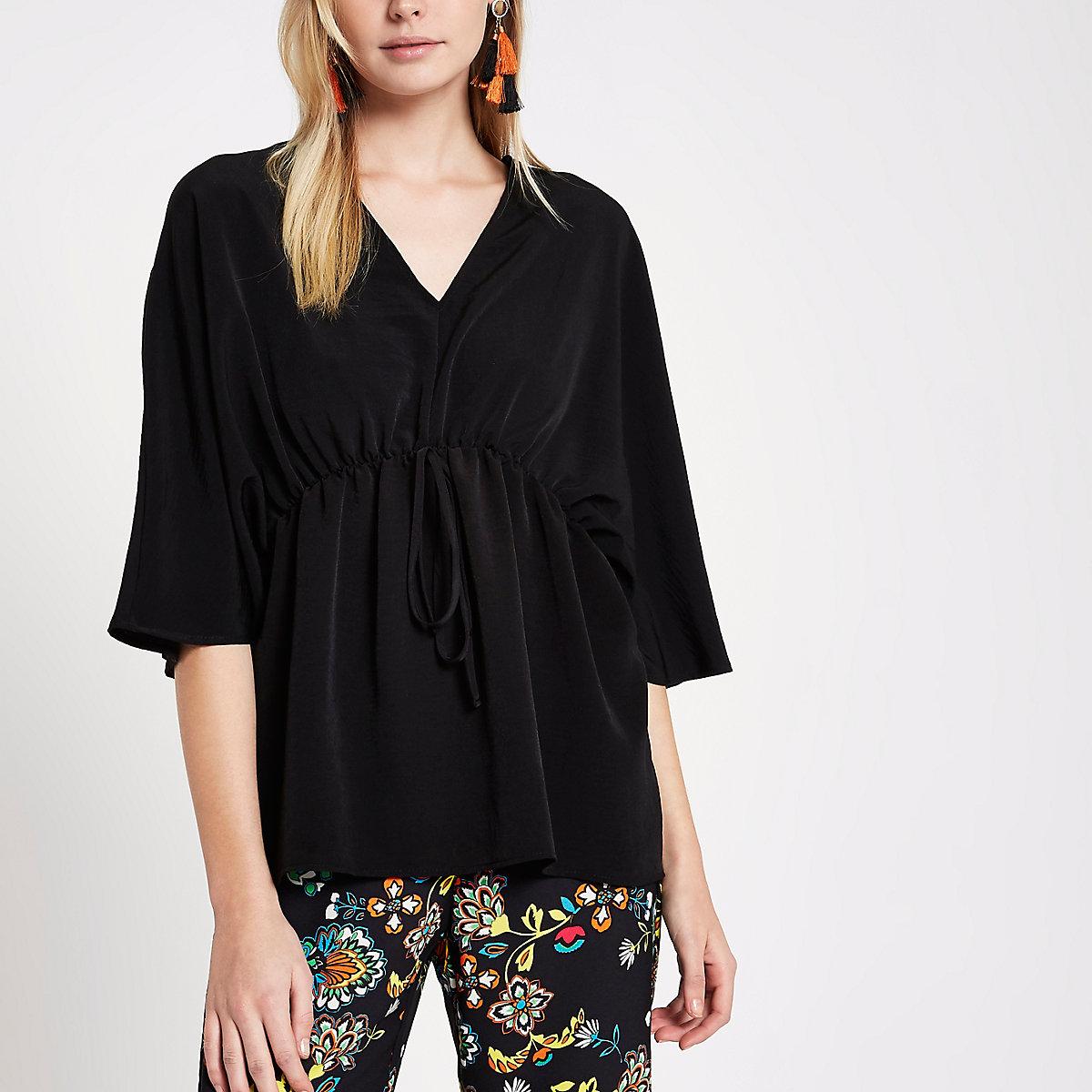 Black tie waist kimono top