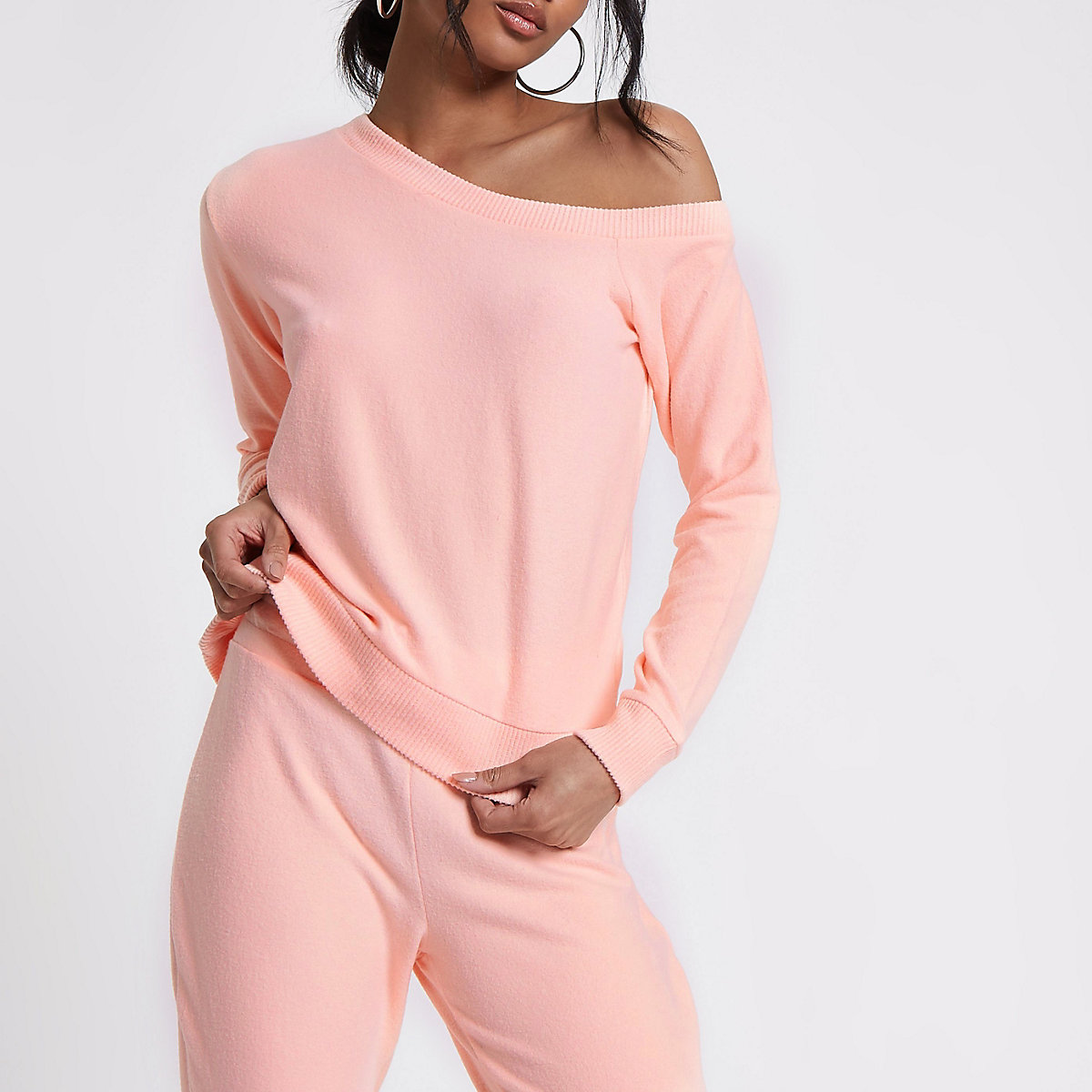 38fcee97f2418 Pink one shoulder sweatshirt - Bardot   Cold Shoulder Tops - Tops - women