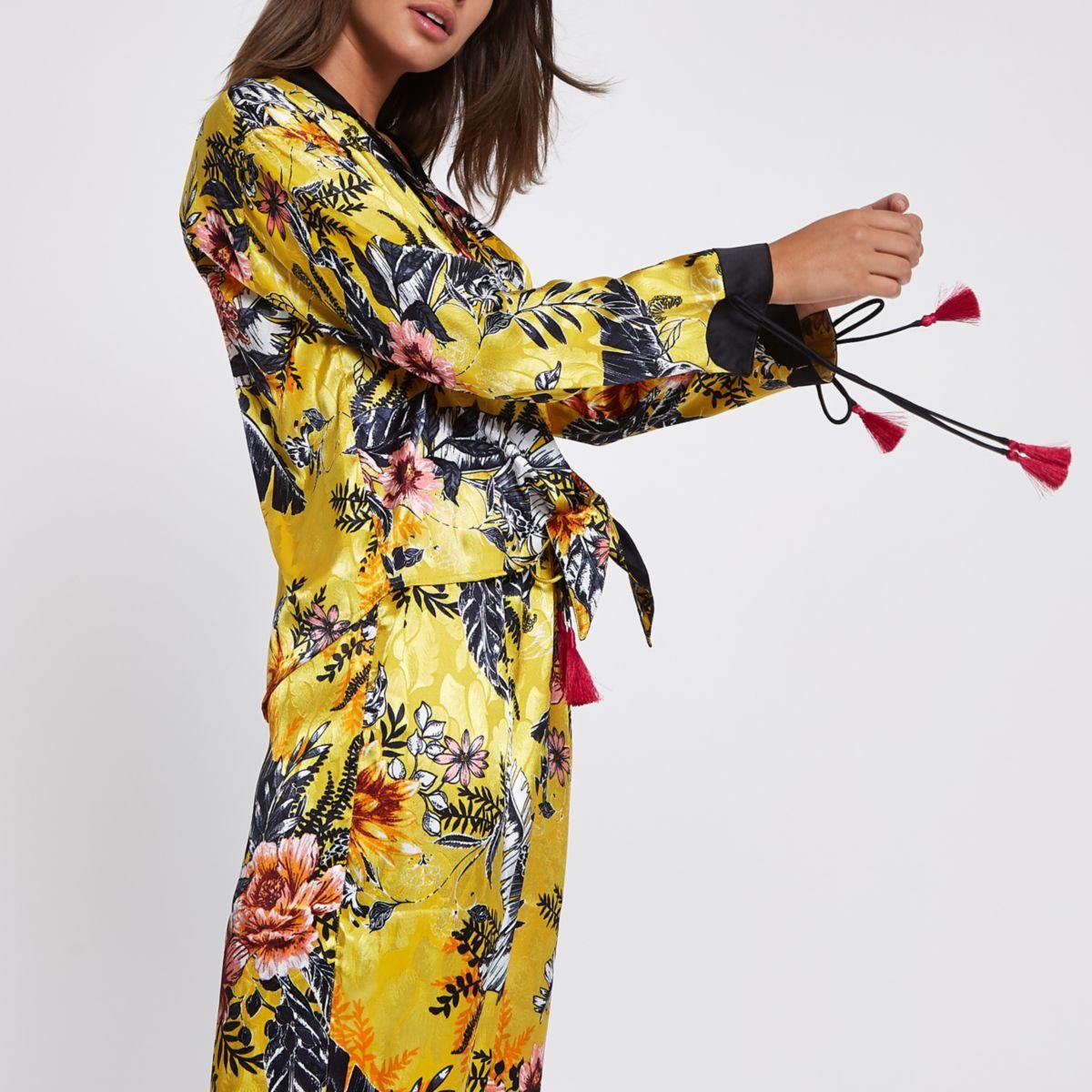 Yellow floral print tie pajama shirt