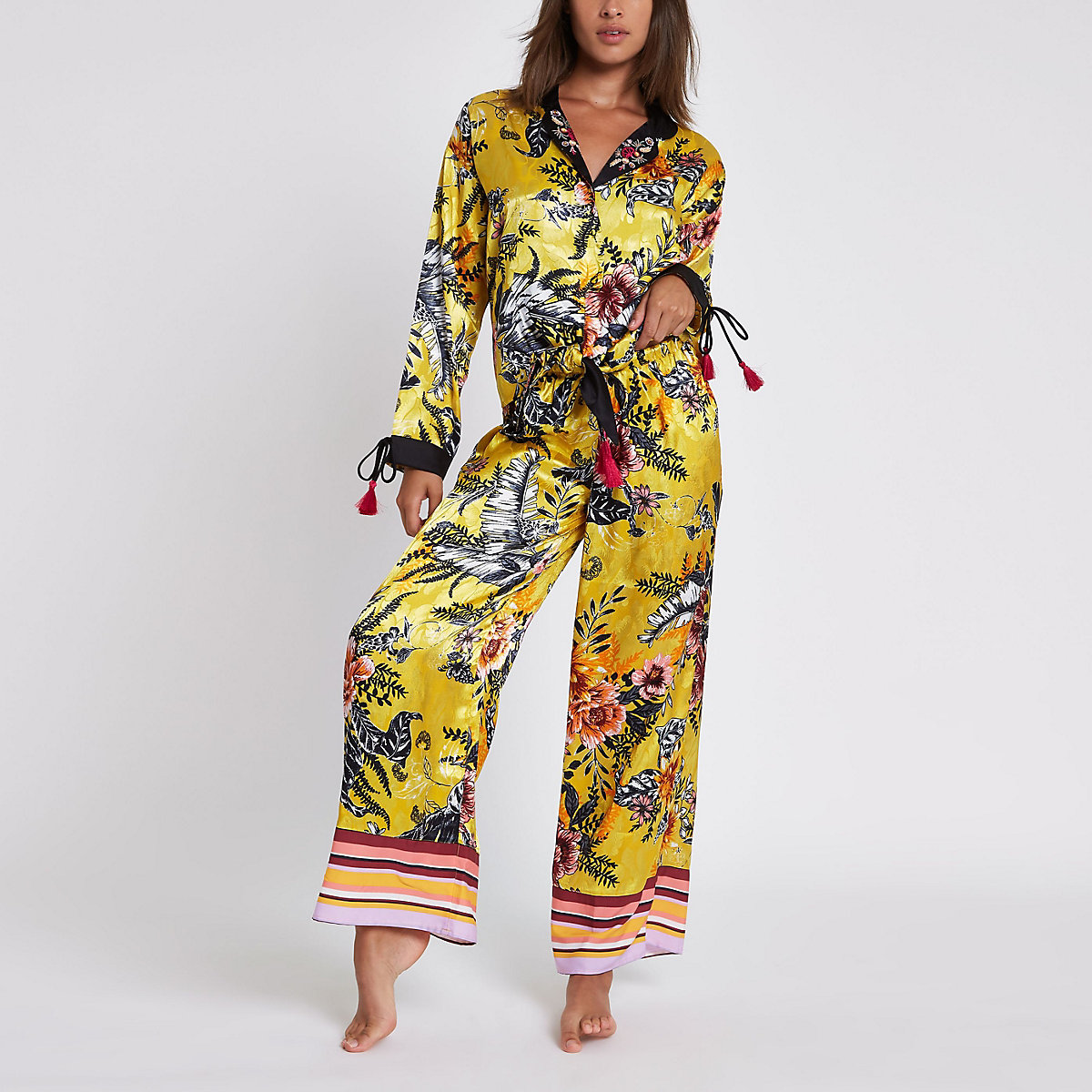 Yellow floral print pajama pants
