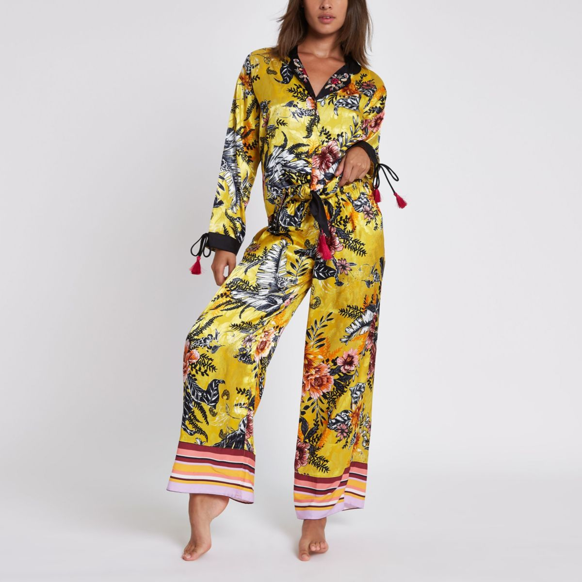 Yellow floral print pyjama trousers