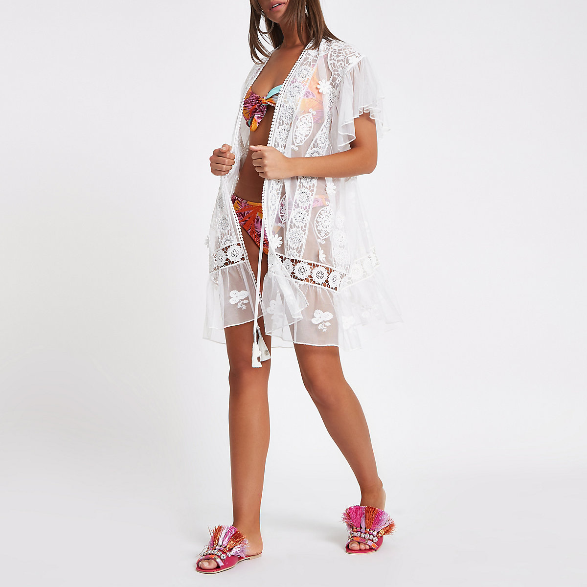White lace embroidered beach cover up