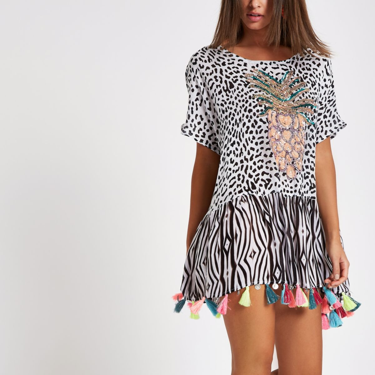 Black pineapple embellished beach cover up