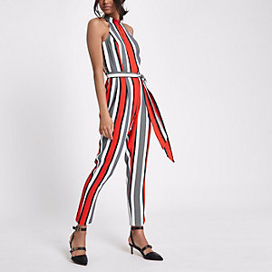 Red stripe high neck jumpsuit