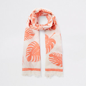Écharpe imprimé feuilles orange