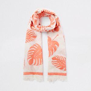 Oranje sjaal met bladprint