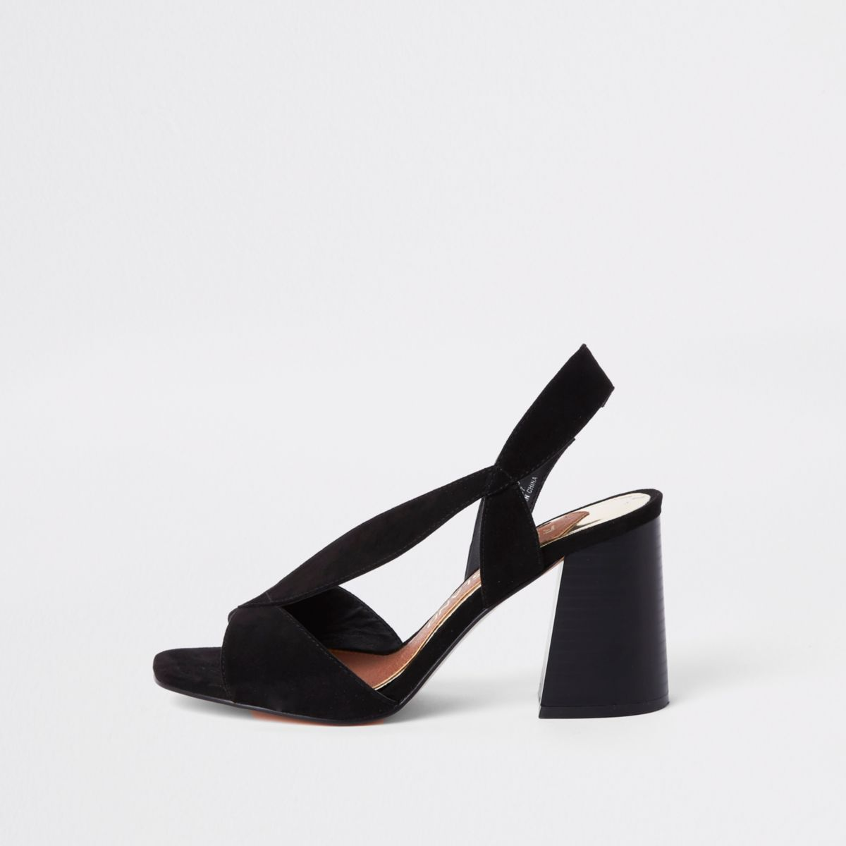 Black wide fit asymmetric flare heel sandals