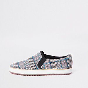 Grey check chunky slip on plimsolls