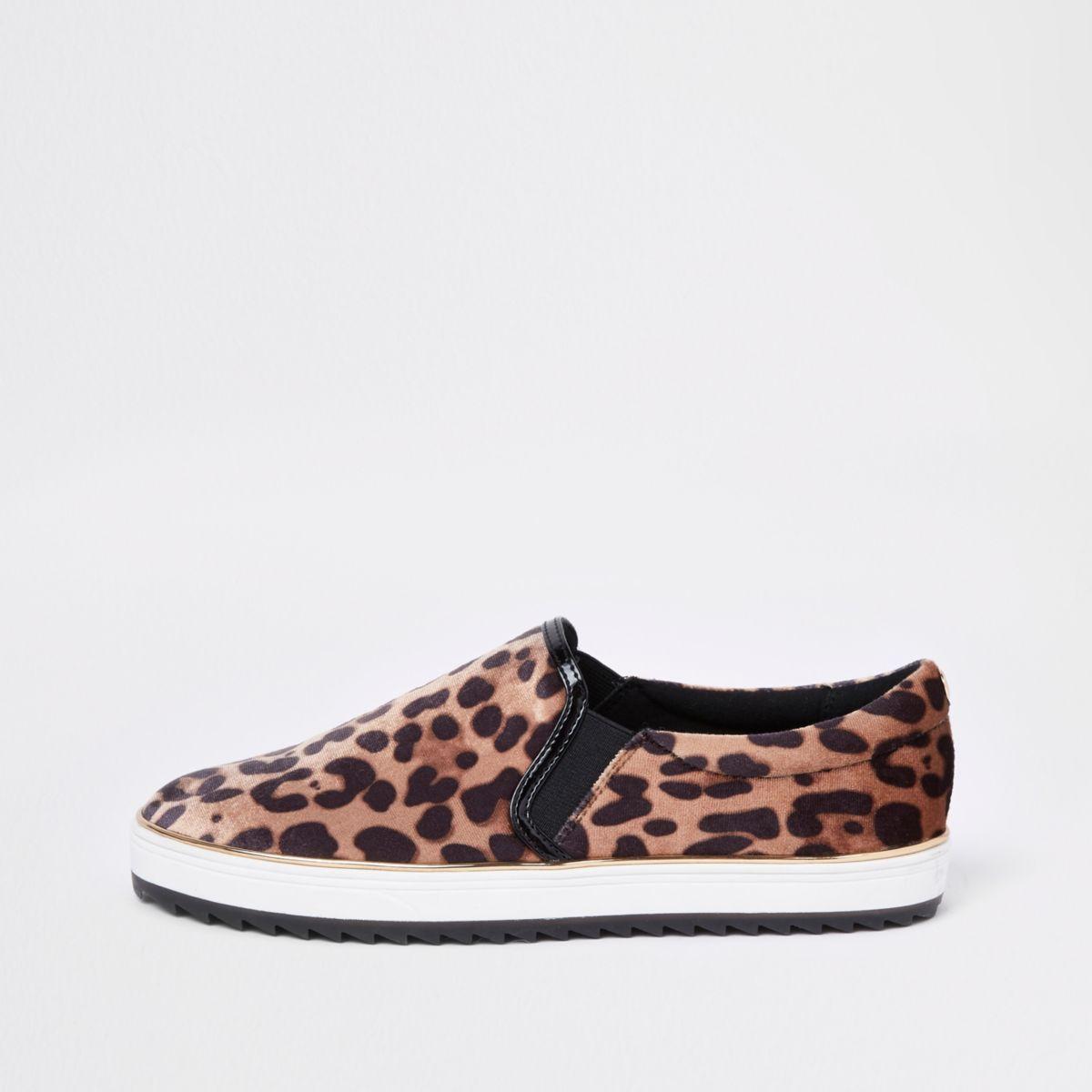 Brown leopard print slip on chunky plimsolls