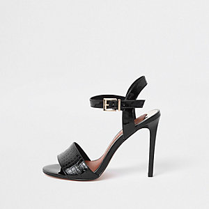 Black two part wide fit stiletto heel sandals