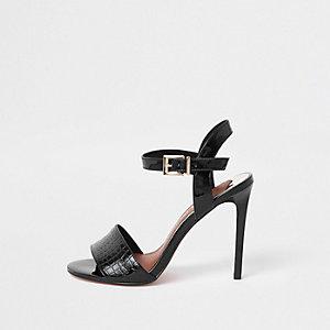 Zwarte tweedelige sandalen met skinny hak en brede pasvorm