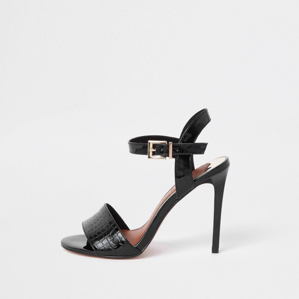 Black two part wide fit skinny heel sandals