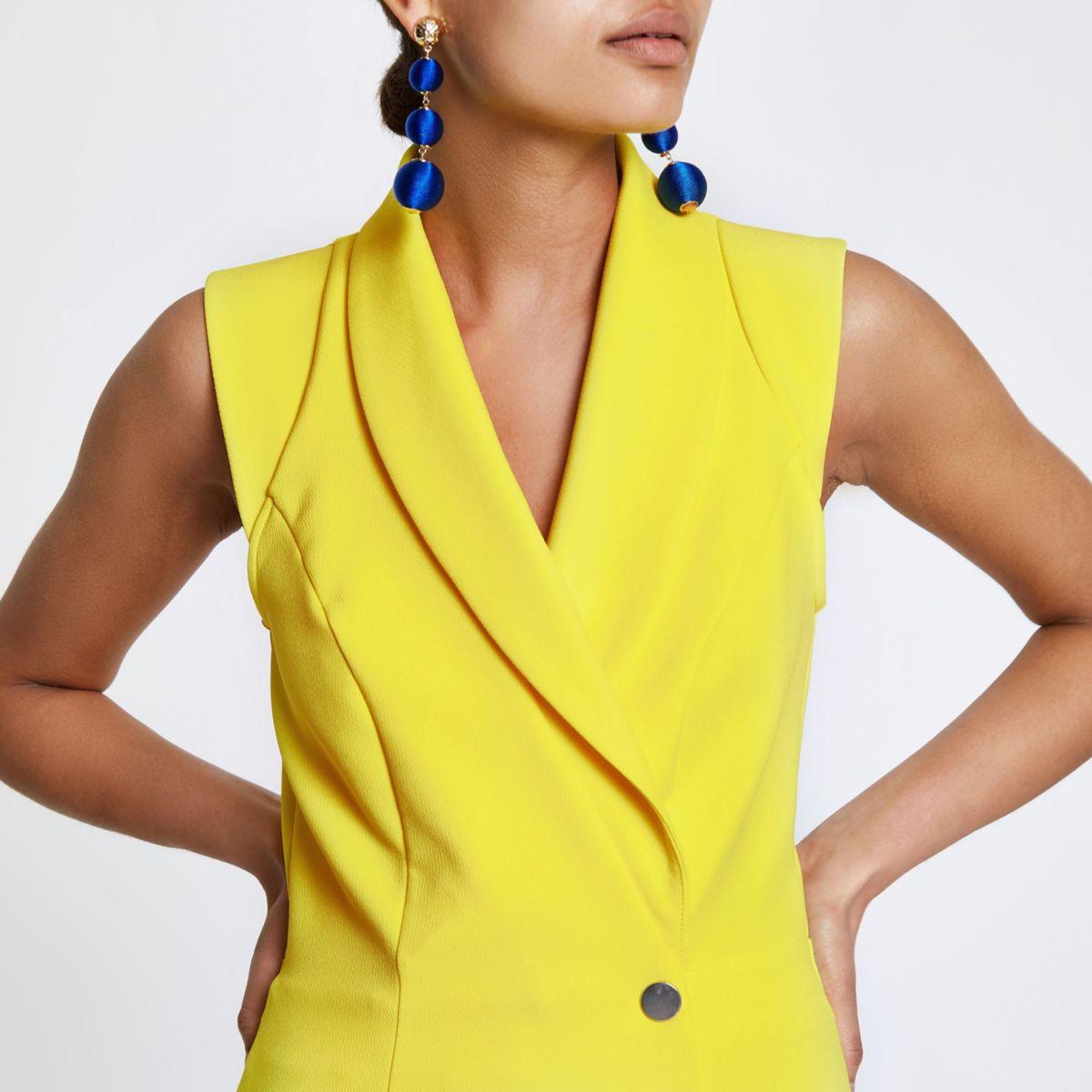 Yellow tux sleeveless wrap playsuit