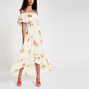 Cream floral print high low hem maxi dress