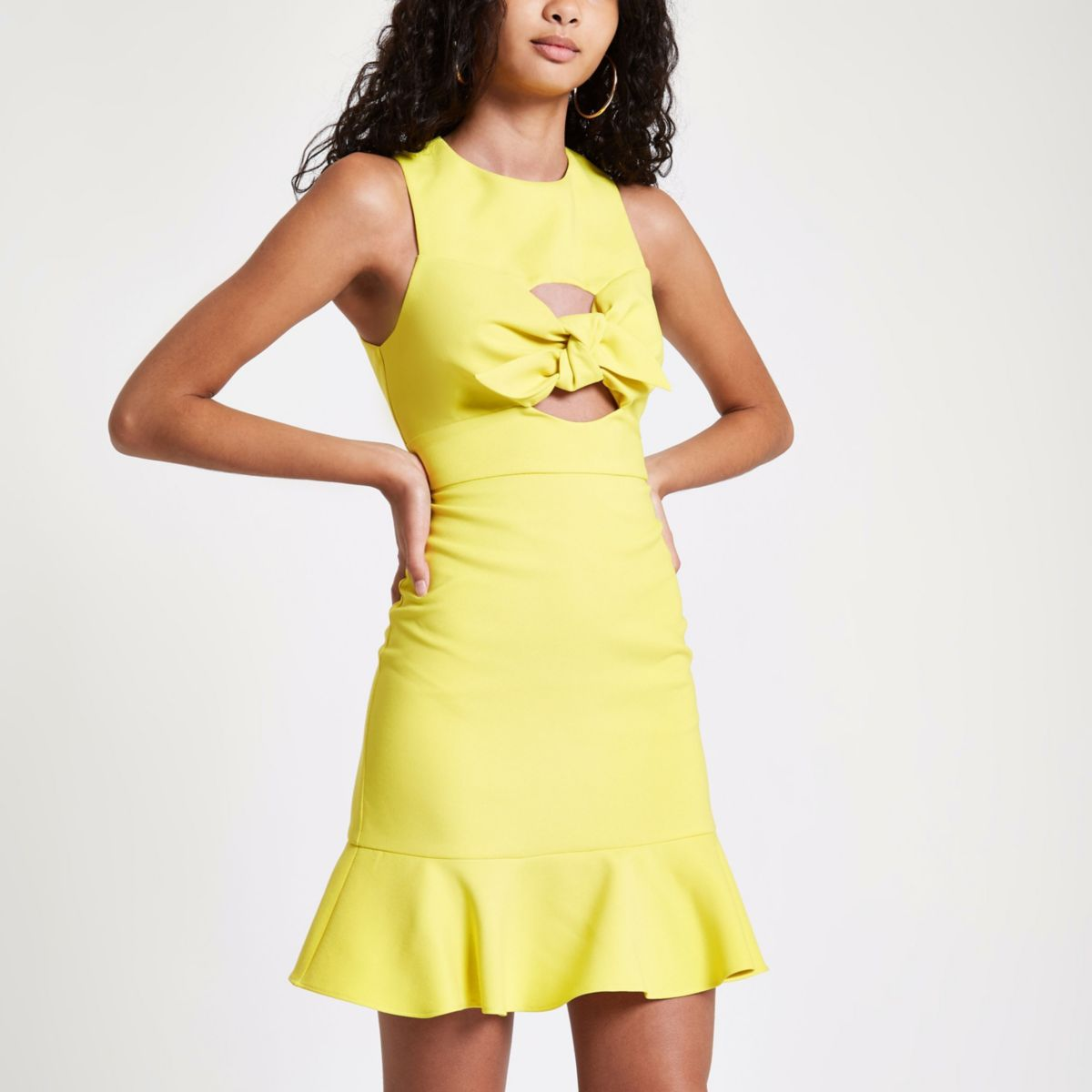 Yellow knot front bodycon dress