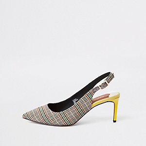 Grey check wide fit sling back pumps