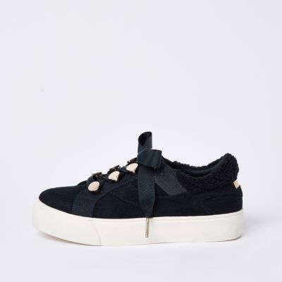 Blue Ribbon Lace Up Trainers by River Island