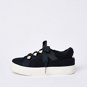 Blue ribbon lace-up trainers