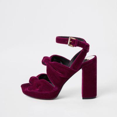 Pink Velvet Knot Platform Sandals by River Island