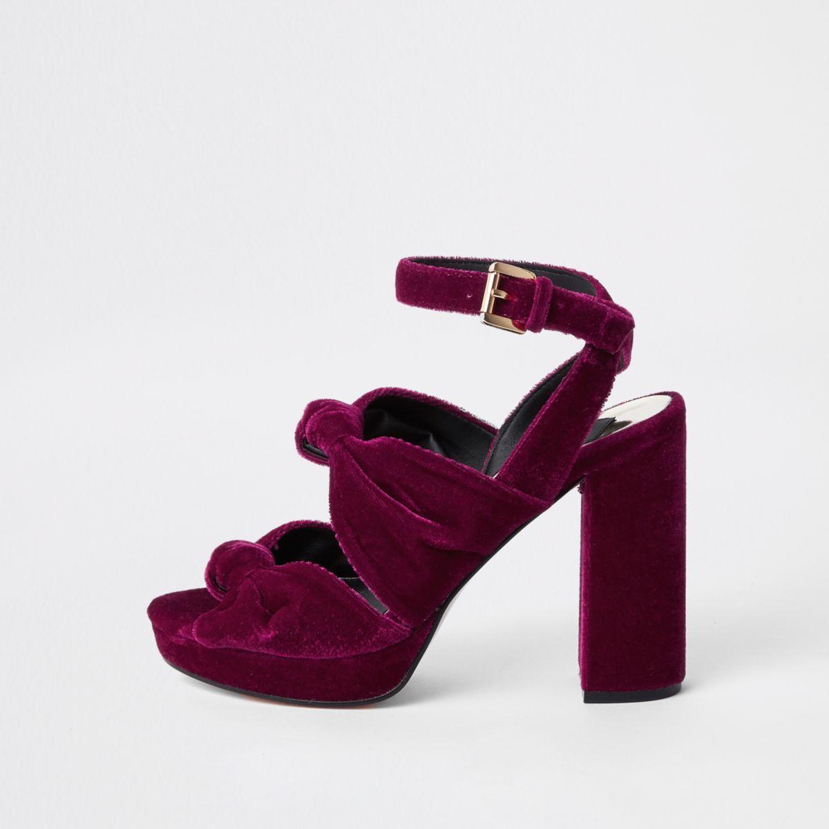 Pink velvet knot platform sandals