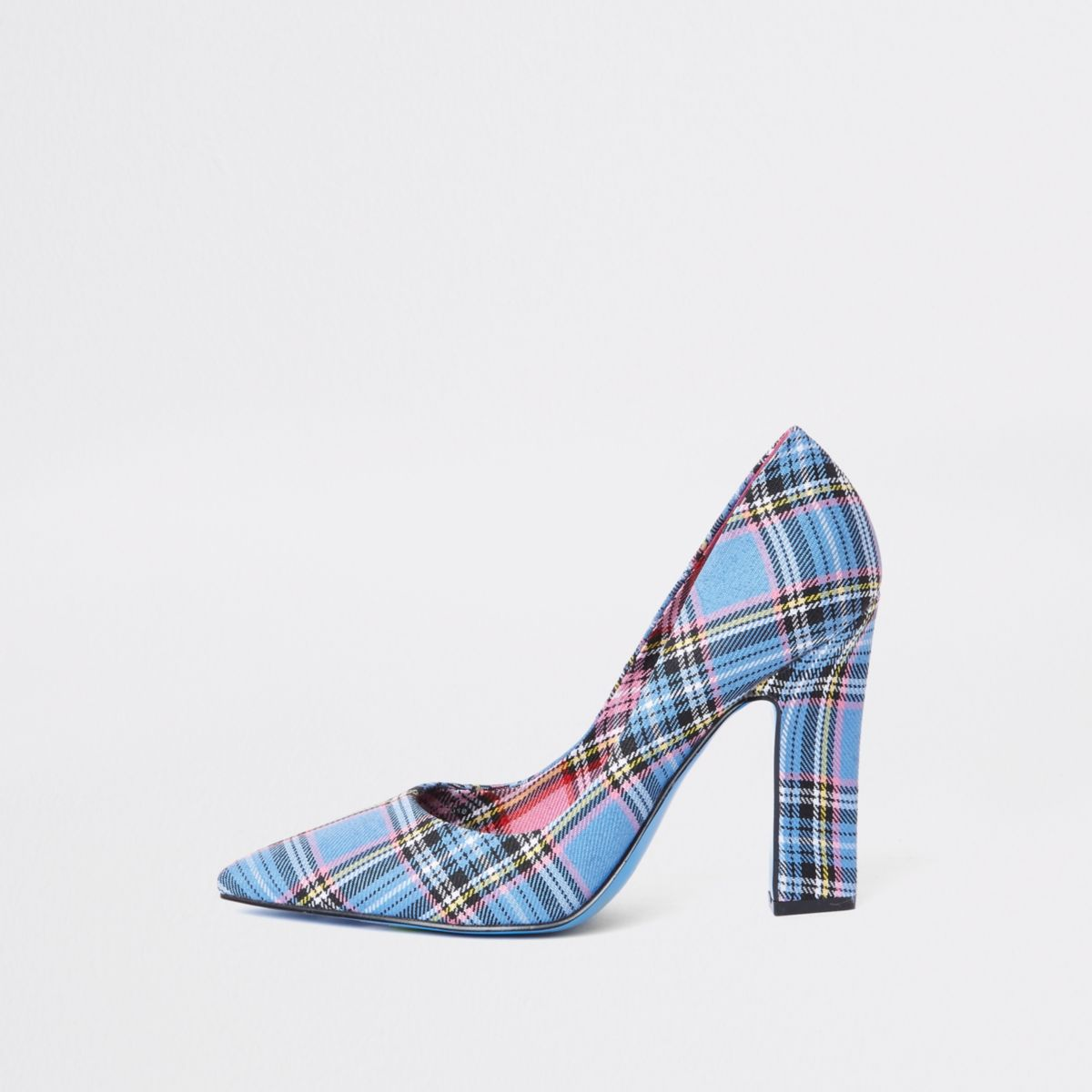 Blue print razor heel court shoes