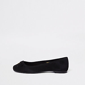 Black bow detail suede loafers