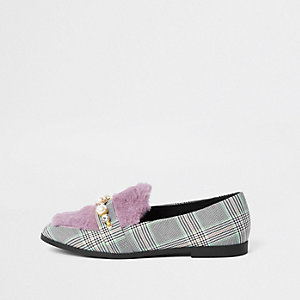Grey check faux fur loafers