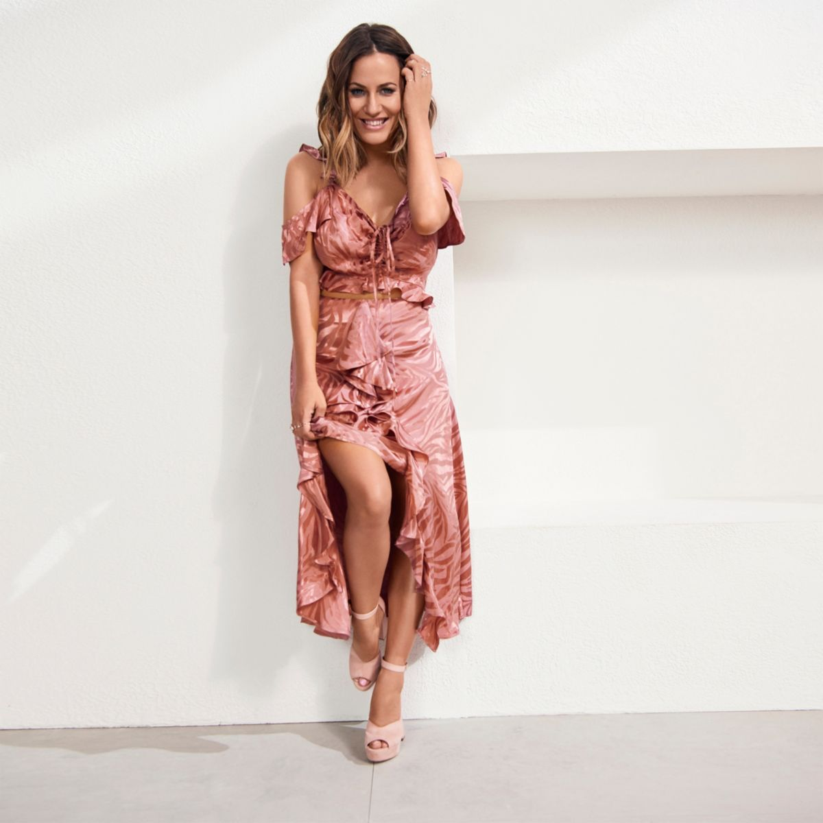 Copper Caroline Flack wrap frill maxi skirt