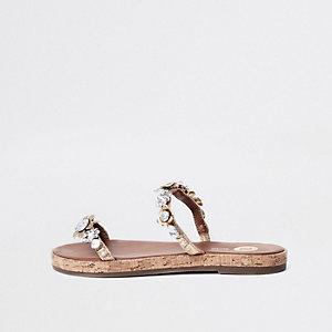 Pink flower embellished double strap sandals