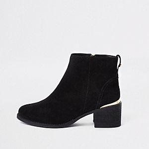 Black suede block heel ankle boots