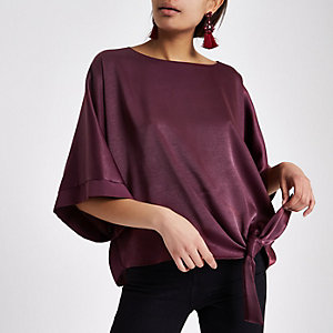 Dark purple short sleeve tie side top