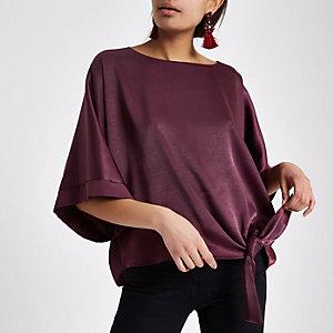 Dark purple short sleeve tie side top