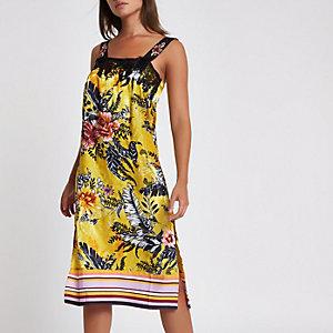 Gele midi-pyjamaslipdress met bloemenprint