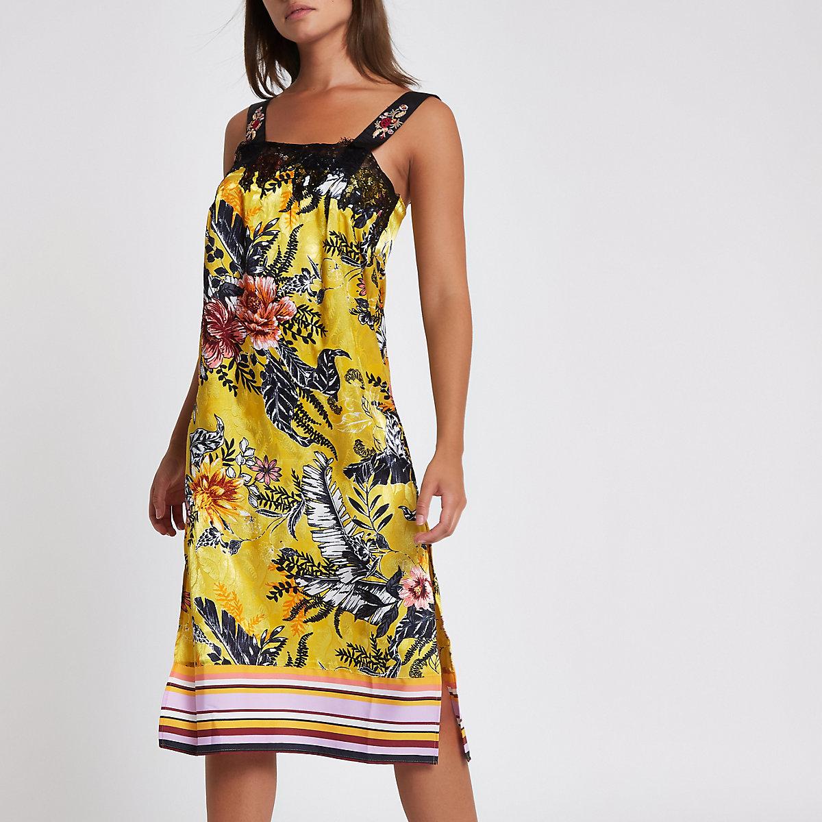 Yellow print floral midi pajama slip dress