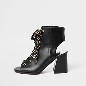 Black lace-up block heel shoe boots