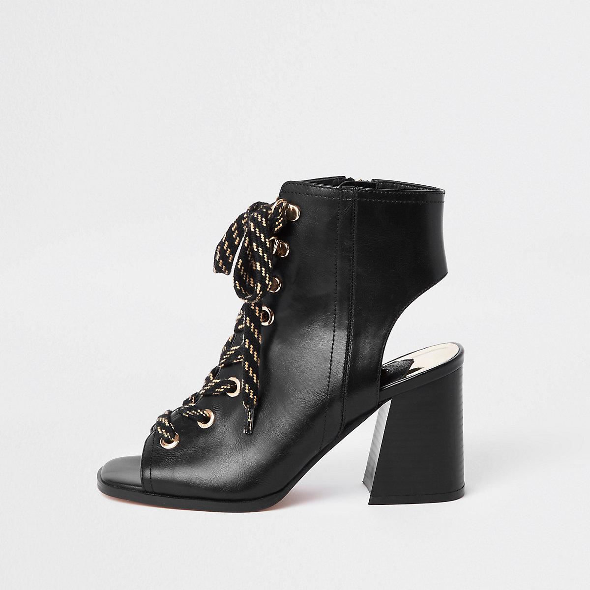 Black lace-up block heel shoe boots