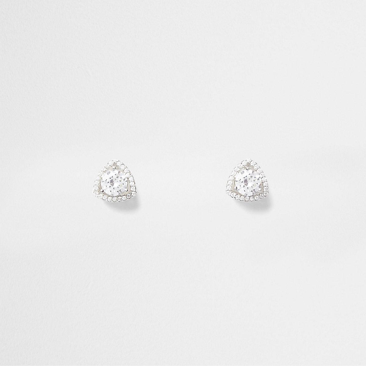 Silver tone triangle cubic zirconia earrings
