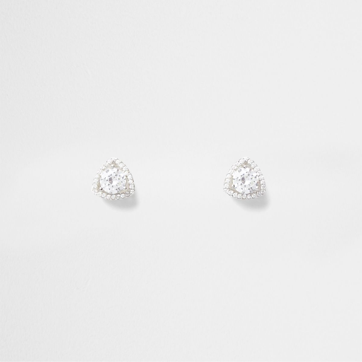 Silver tone triangle cubic zirconia earrings