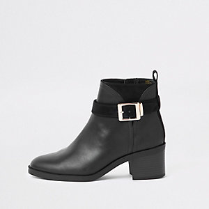 Black wide fit buckle detail ankle boots