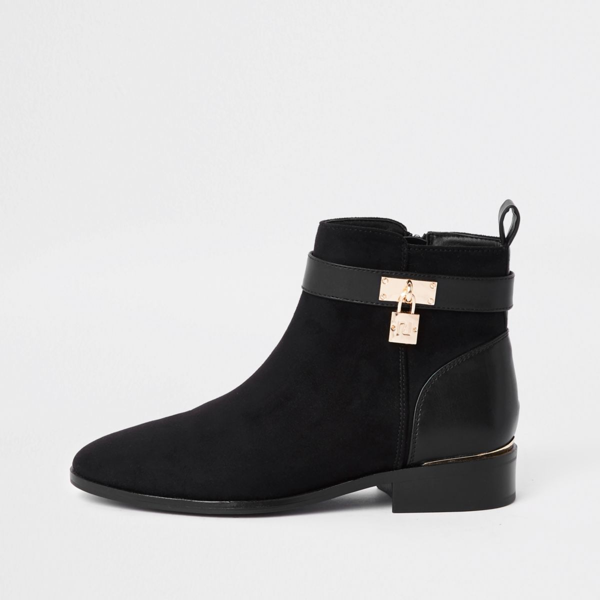 Black wide fit padlock ankle boots